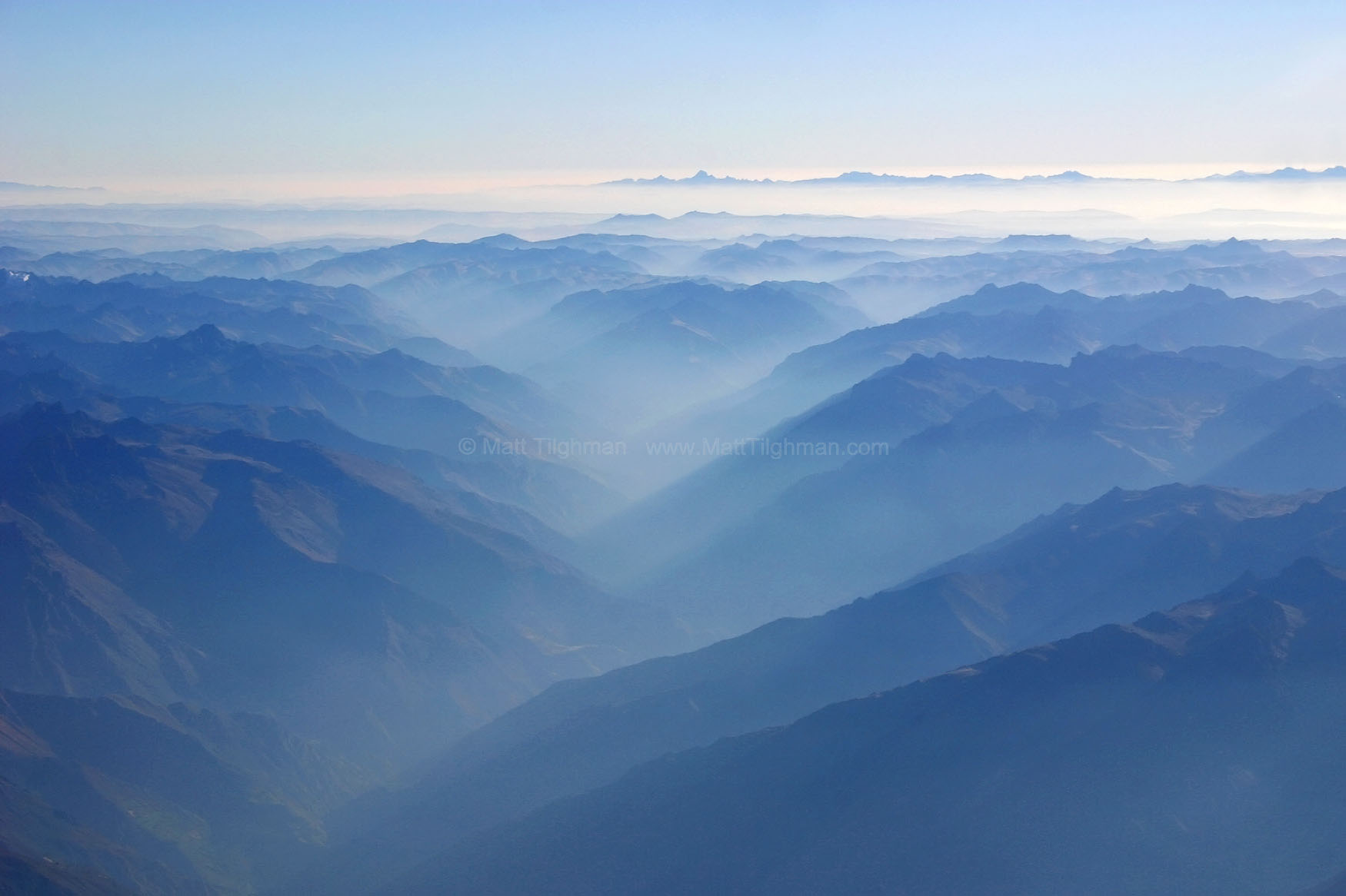 Fine art stock photograph of the Peruvian Andes. Photo taken from high above in an airplane.