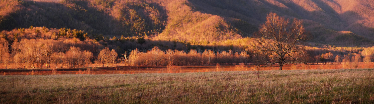 Fine art stock photograph from Cades Cove, in the Great Smoky Mountains National Park of Tennessee, where a beautiful sunset lights up the Appalachian Mountains and the valley floor.