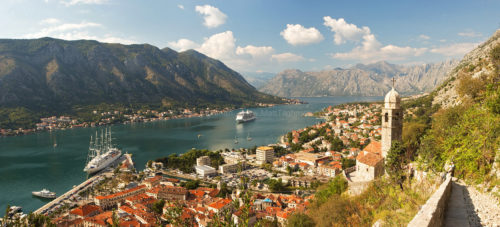 Fine art stock photograph of Kotor, Montenegro. The stunning view of Kotor Bay is taken from the path to Saint John's Fortress located high up the mountains.