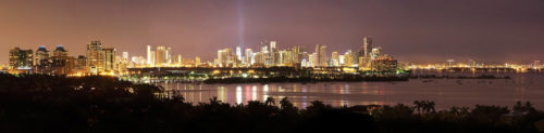 Fine art stock photograph: panorama of the beautiful skyline of Miami at night, showing the many areas - and personalities - of the city.