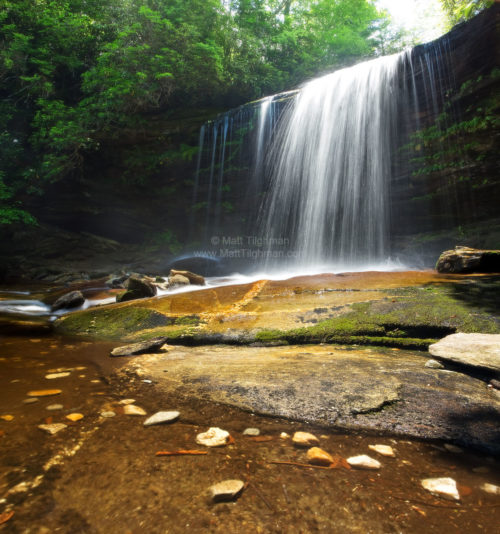 Fine art stock photograph of Schoolhouse Falls, in Panthertown Valley, prominently featuring the beautiful granite it is made from.