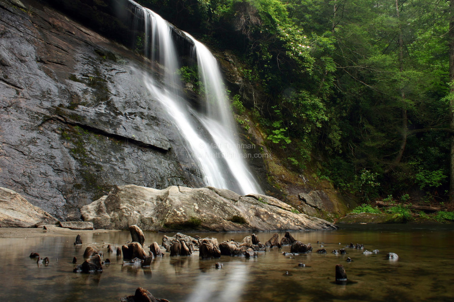Fine art stock photograph of Silver Run Falls, a large waterfall near Cashiers, North Carolina. The area is a temperate rain forest, but this picture shows the falls after a drought.