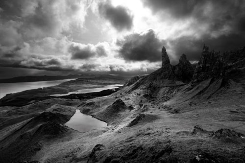 Fine art stock photograph of the iconic Old Man of Storr, standing sentinel over the Isle of Skye on a stormy day, in the Outer Hebrides of Scotland.