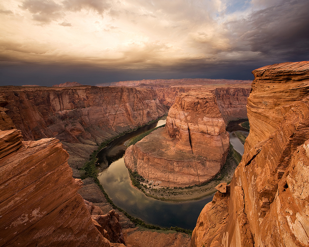 Fine art stock photograph of the Colorado River at Horseshoe Bend, in Page Arizona, at Sunrise