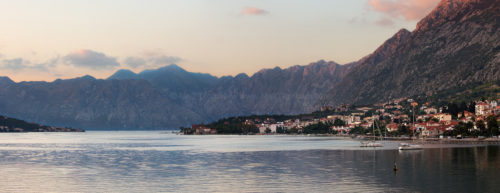 Fine art stock landscape photograph from the beautiful Dalmatian Coast region, showing the peaceful Kotor Bay, Montenegro.