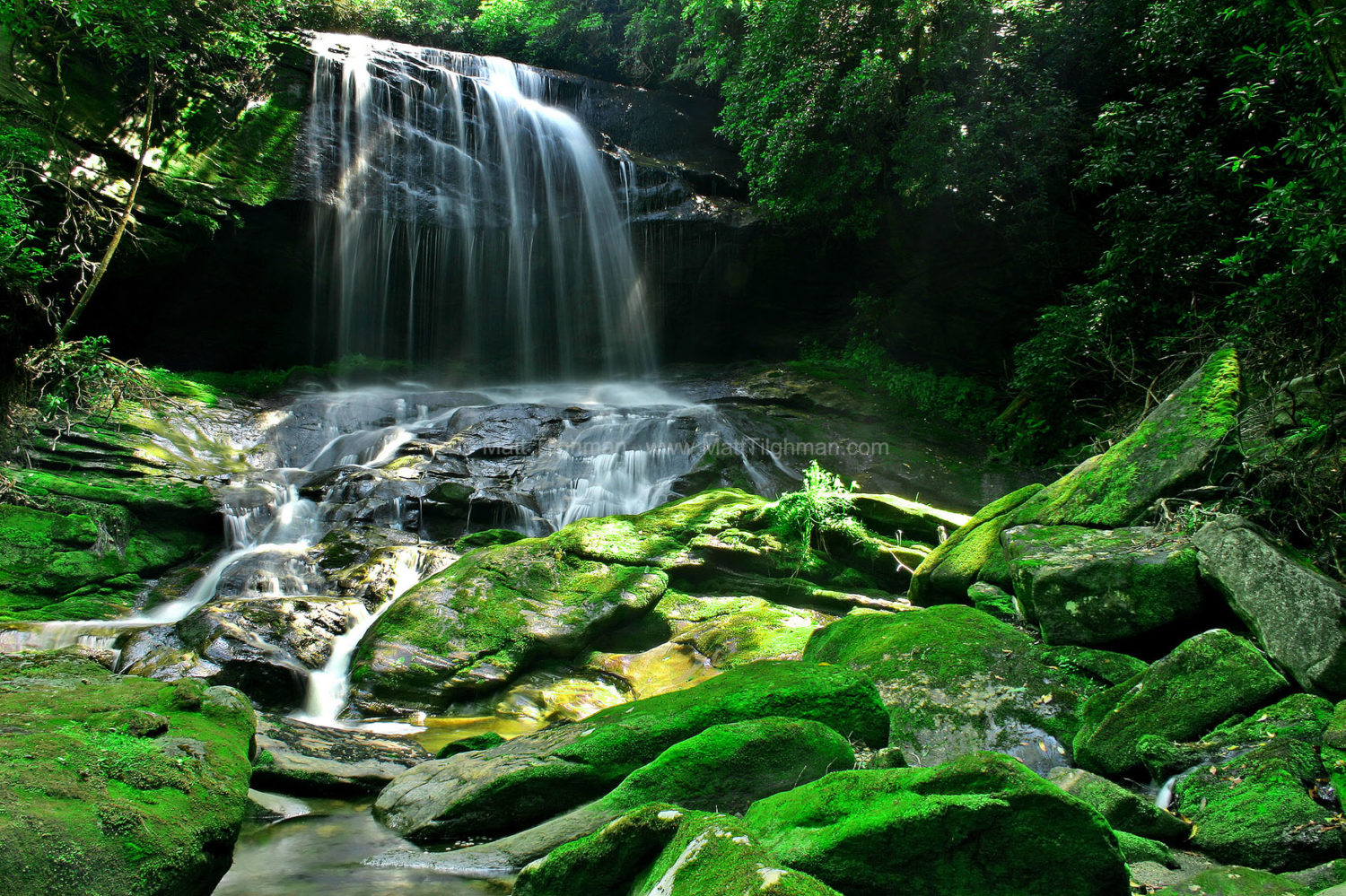 Fine art stock photograph of Charlie Falls, a majestic rocky waterfall in the Glenville area of Western North Carolina.