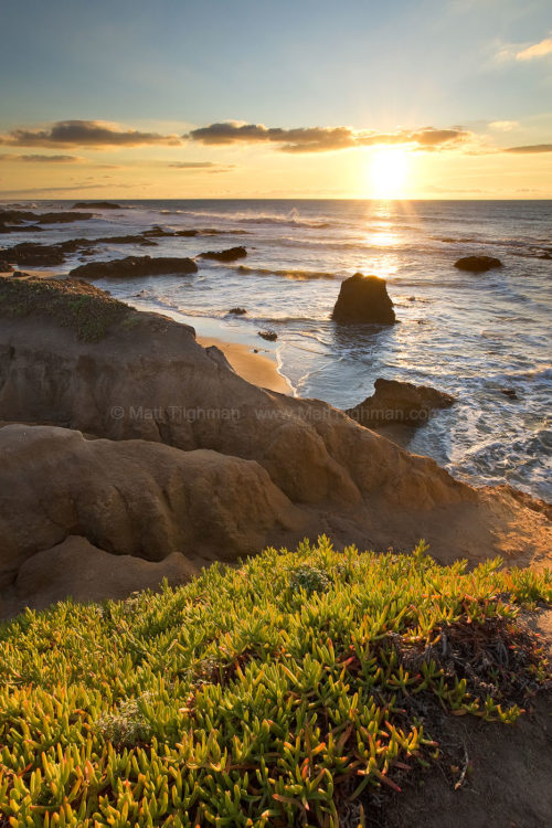 Fine art stock photograph of Pescadero Beach at Sunset. Pescadero Beach is just off of California's Pacific Coast Highway, roughly west of San Jose
