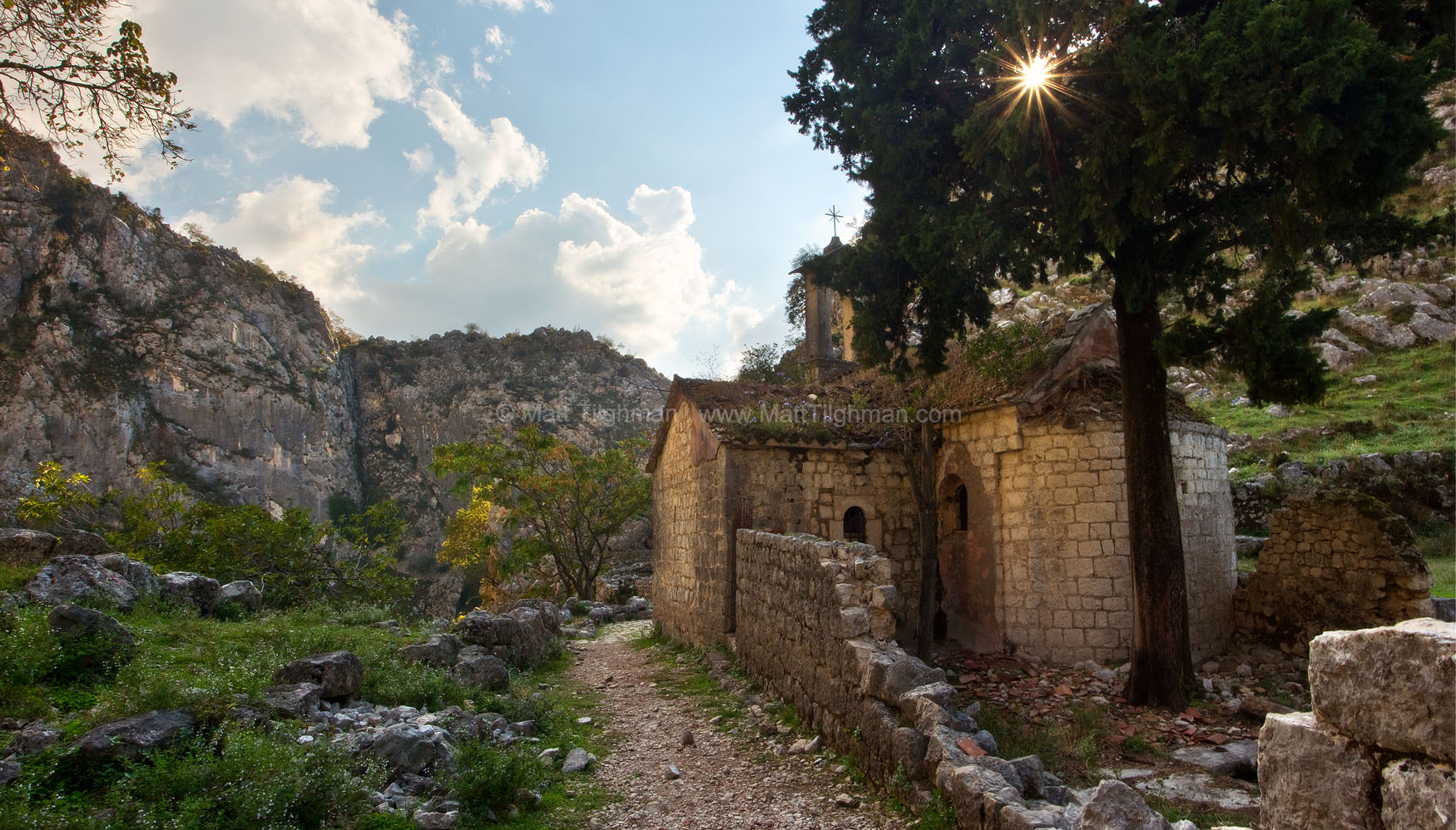 Fine art stock landscape photograph from Kotor, Montenegro. These beautiful church ruins can be found in the mountains just outside the St John's Fortress.