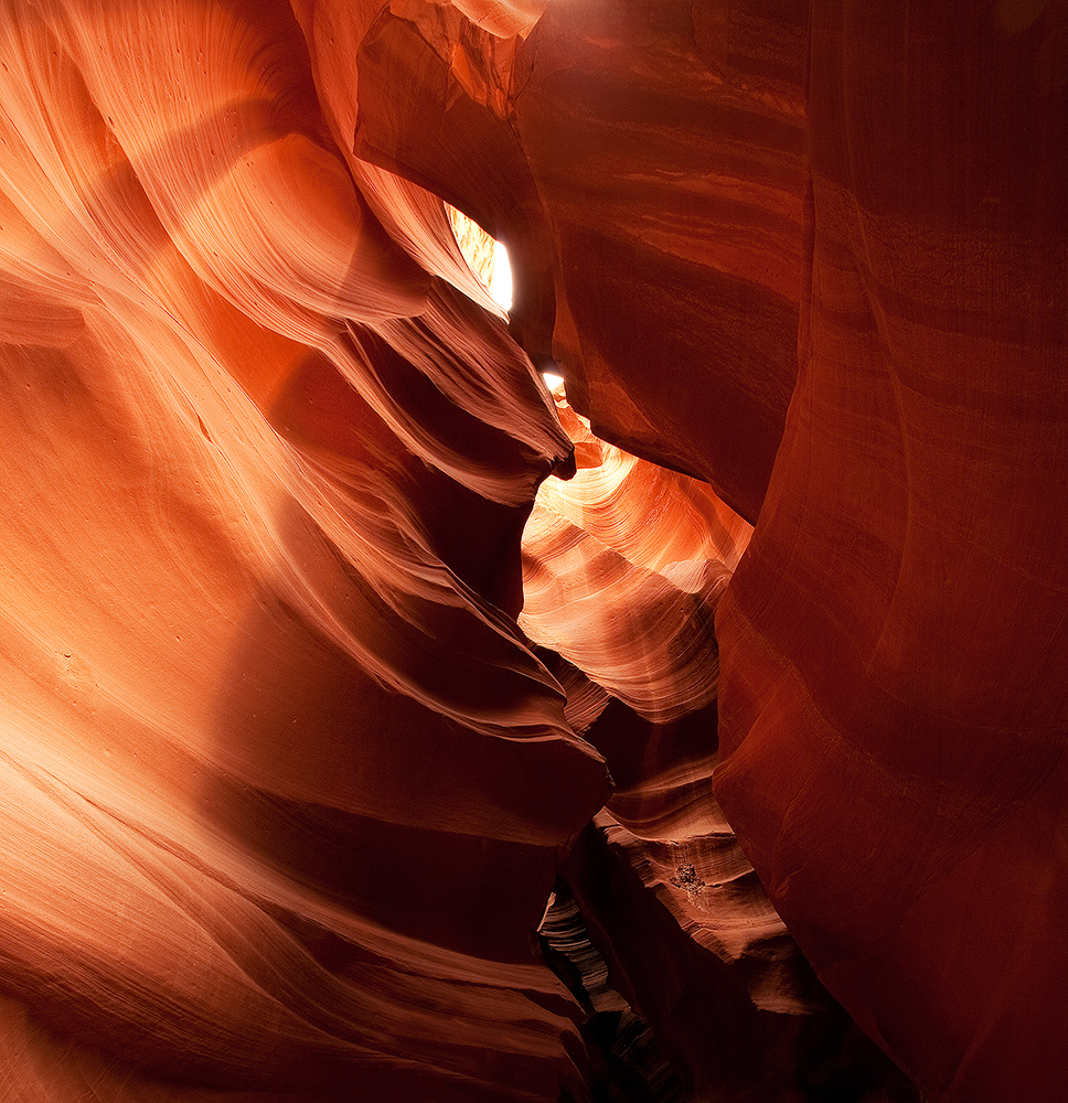 Fine art stock landscape photograph of Antelope Canyon, Arizona. The beautiful textures of the canyon's sandstone walls help show why this place was so sacred.