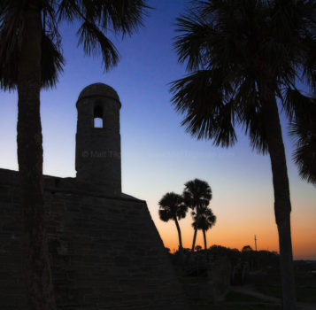 Fine art stock photograph of the Castillo de San Marcos in St. Augustine Florida, one of the nation's oldest forts, at dusk.
