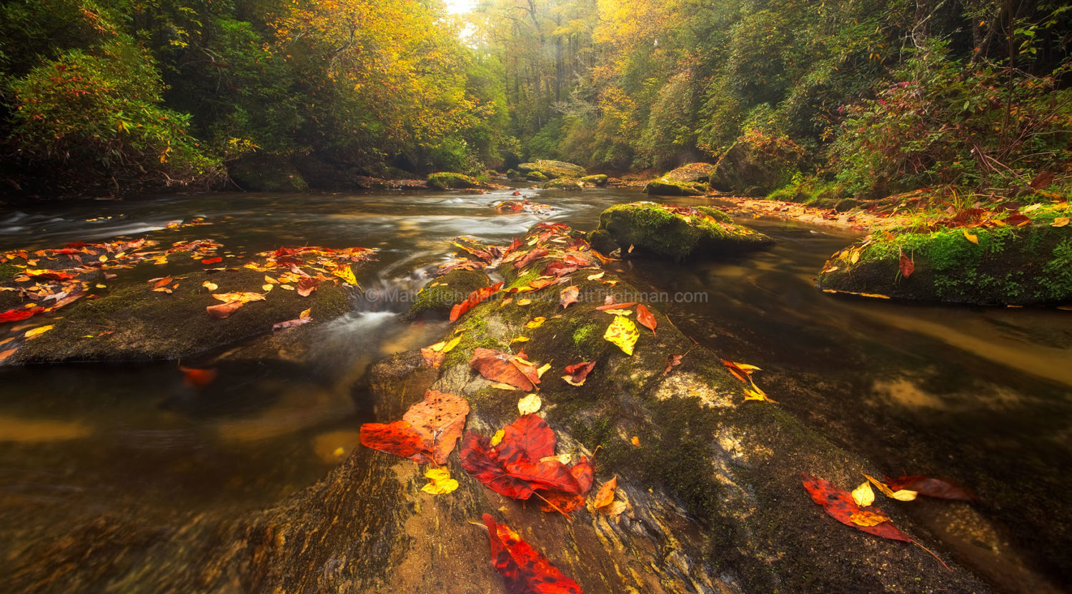 "Fine art stock landscape photograph of the Chattooga River in Autumn, one of North Carolina's few designated ""wild and scenic"" rivers."