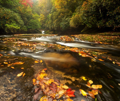 Fine art stock nature photograph of an Appalachian Mountain river in autumn - the wild and beautiful Chattooga River, near Cashiers, North Carolina