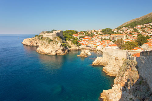 Fine art stock photograph of the Dubrovnik City Walls. From atop this Croatian landmark, one can see the historic old town and the beautiful Adriatic Sea