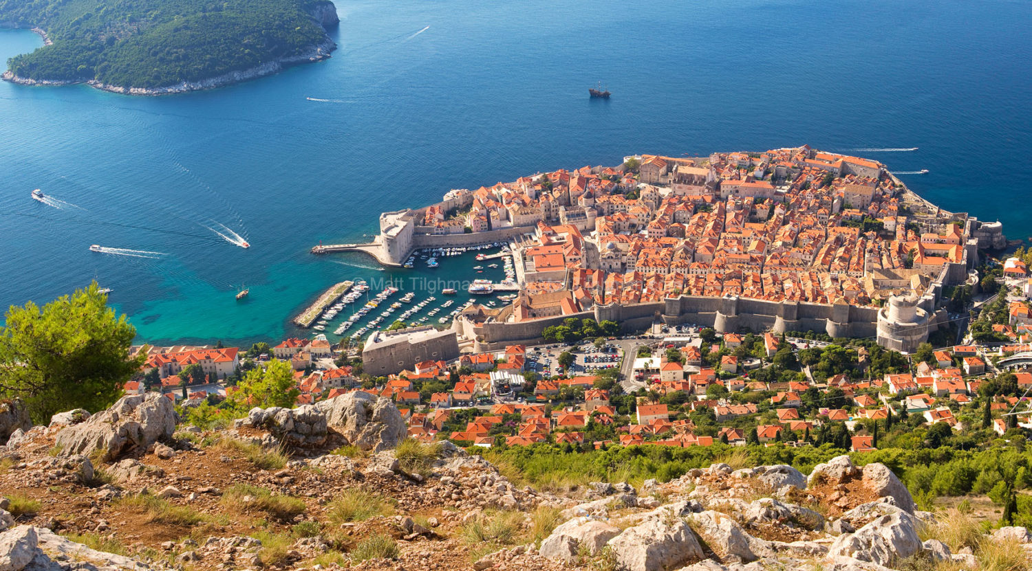 Fine art stock landscape photograph from Dubrovnik, Croatia. The ancient town and the turquoise Adriatic Sea shine side by side on the beautiful Dalmatian Coast.