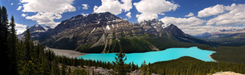 Fine art stock landscape photograph of Peyto Lake, in Banff National Park, Canada. The blue glacially-fed lake is flanked by the towering Rocky Mountains.