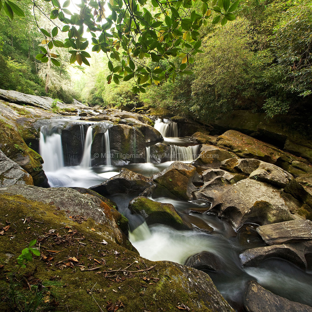Fine art stock photograph of a beautiful waterfall on the Chattooga River, in the lush Smoky Mountains of Western North Carolina.