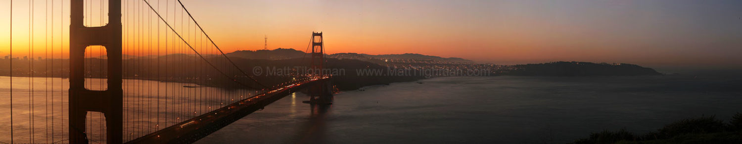 Fine art stock photograph of California's Golden Gate Bridge at dawn, connecting the beautiful city of San Francisco to the towering Marin Headlands.