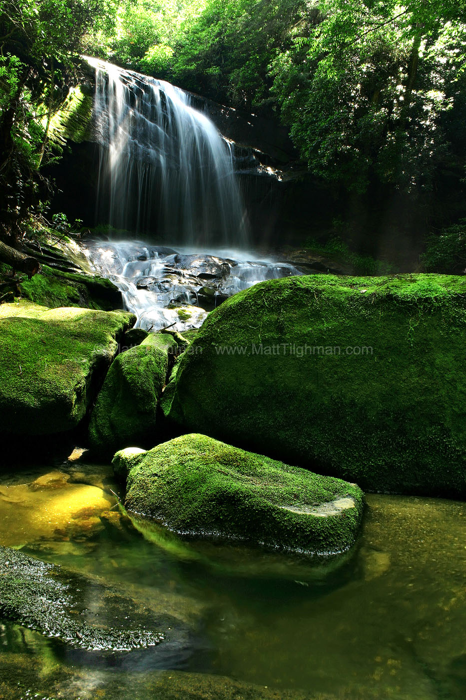 Fine art stock photograph of Charlie Falls in the Appalachian Mountains of North Carolina, in the lush forests of the Highlands Plateau.