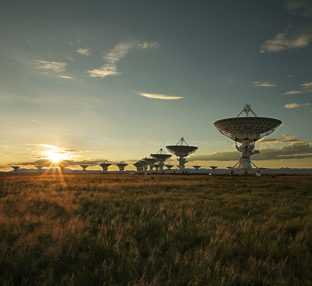 Fine art stock photograph of Socorro New Mexico's VLA at sunset. The Very Large Array is a telescope that uses radio-waves to probe the beyond.