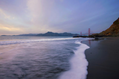 Fine art stock photograph from Baker Beach, San Francisco. The beach provides a stunning view of California's Golden Gate Bridge, especially at sunset.