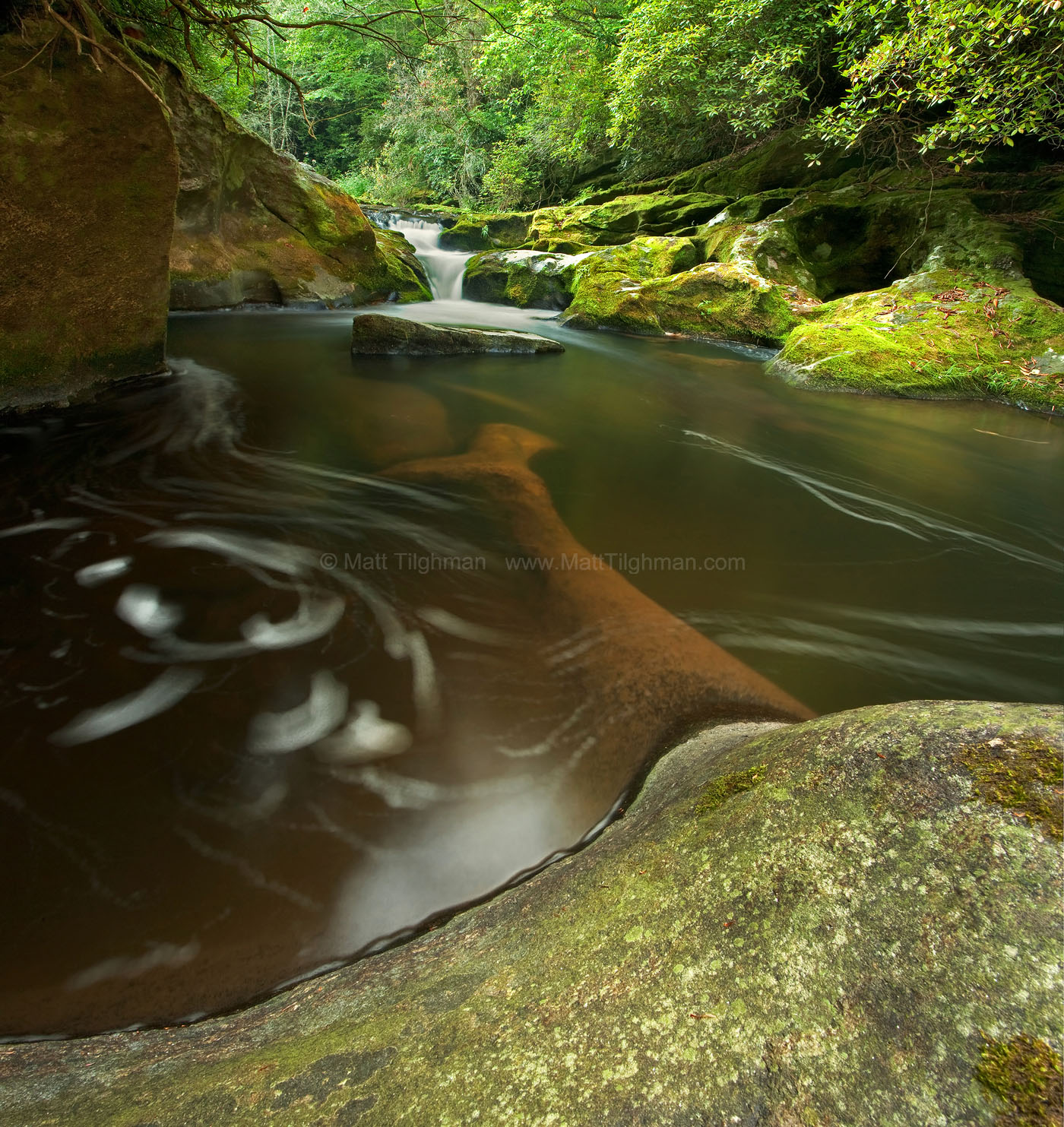 Fine art stock photograph taken in the headwaters of the Chattooga River, in the lush Appalachian Mountains of Western North Carolina.