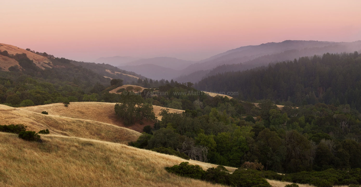 Fine art stock landscape photograph from Monte Bello Open Space, California. At sunset, tehse Santa Cruz Mountains seem among the most peaceful places on earth.