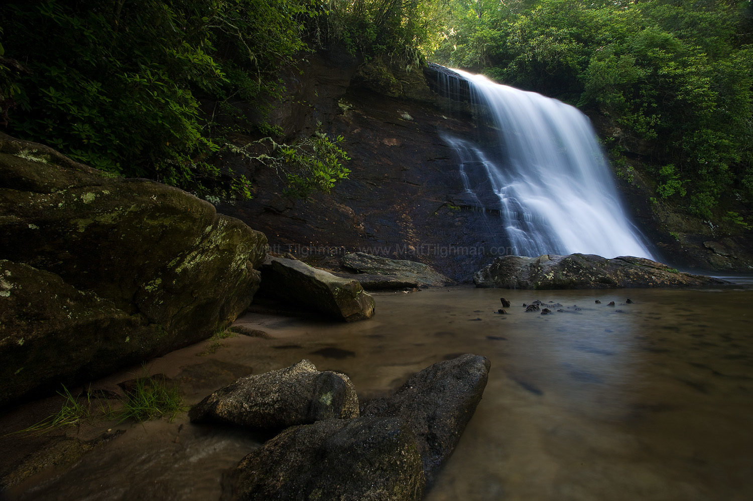 Fine art stock photograph of dawn at Silver Run Falls, a beautiful waterfall located in the Nantahala National Forest near Cashiers, North Carolina.