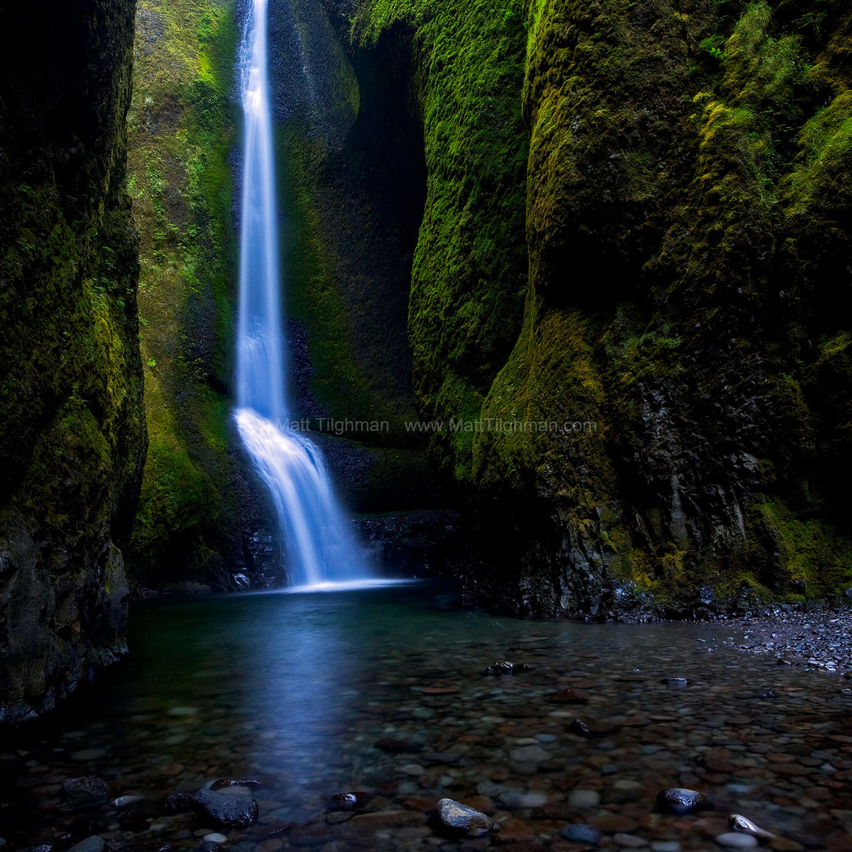 Fine art stock photograph of Lower Oneonta Falls, located in the Oneonta Gorge, part of Oregon's Columbia River Gorge. The beautiful canyon is a lush wonderland.