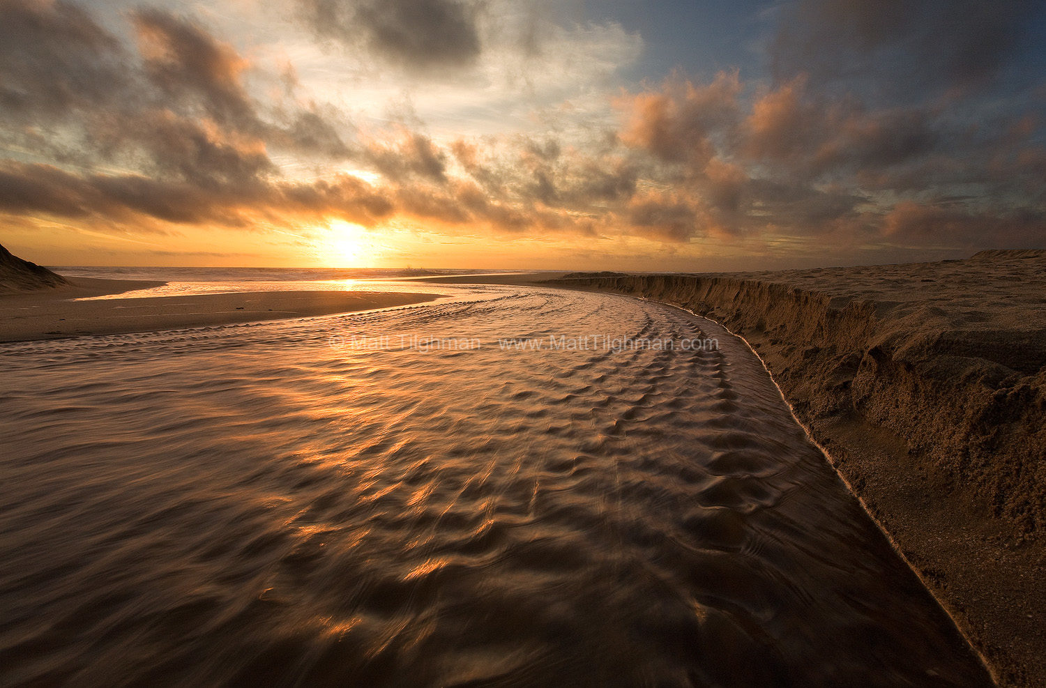 Fine art stock photograph from Montara State Beach, near Pacifica, California. Martini Creek finds its way to the Pacific Ocean as the sun sets beyond.