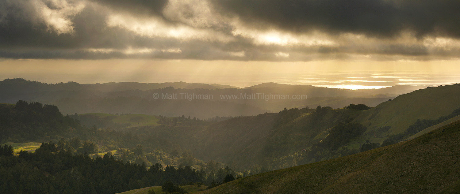 Fine art stock landscape photograph from California's Santa Cruz Mountains. The fog is breaking up, evidenced only by the projected image on the Pacific Ocean.