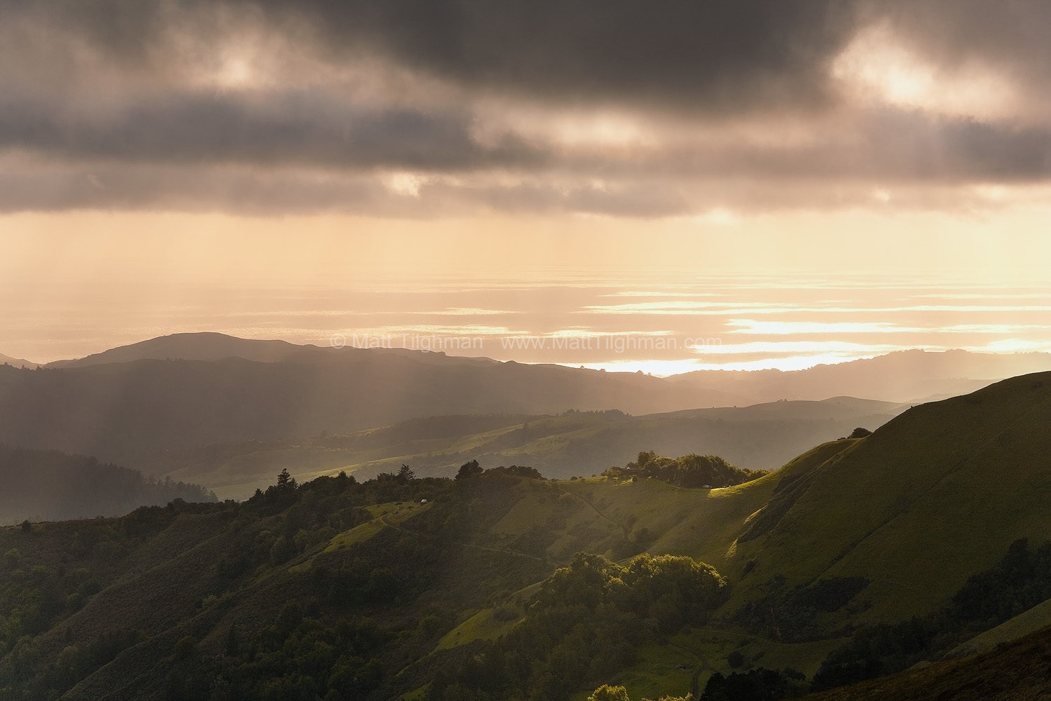 Fine art stock photograph from Russian Ridge Open Space, California. From up in the Santa Cruz Mountains, the Pacific Ocean looks like an archipelago of sunshine.