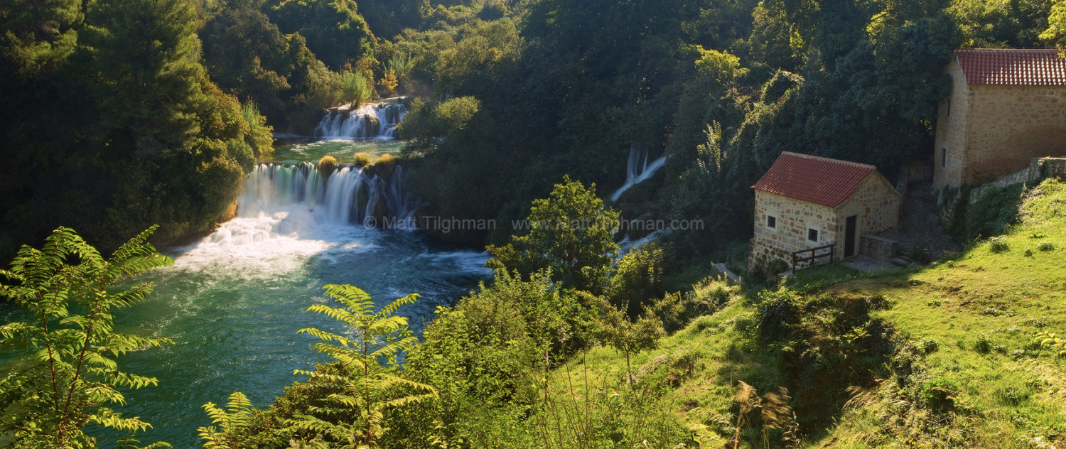 Fine art stock photograph of Krka National Park, in the Croatian Countryside. As the river flows over cliffs, dissolved minerals create stunning tufa formations.
