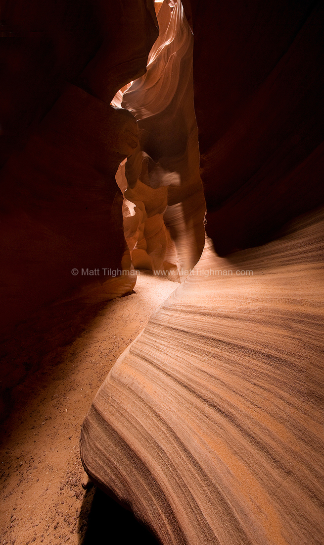 Fine art stock photograph of Antelope Canyon, Arizona. This slot canyon, sacred to the native Navajo people, has beautiful, ever-changing sandstone walls.