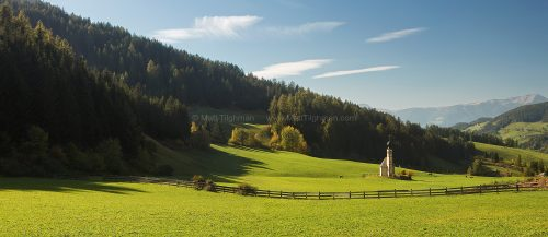 Fine art stock photograph of the church of St John in Ranui, in the Val di Funes area of the Italian Dolomites. This iconic church is known for its beauty and remoteness.